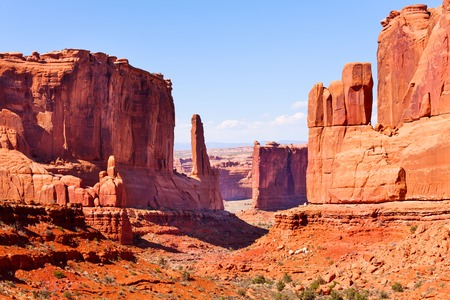 united states: Beautiful view of Park Avenue, Arches National Park, USA during summer time Stock Photo