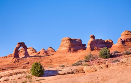 delicate arch: Delicate arch, Arches National Park, USA during summer sunny day Stock Photo