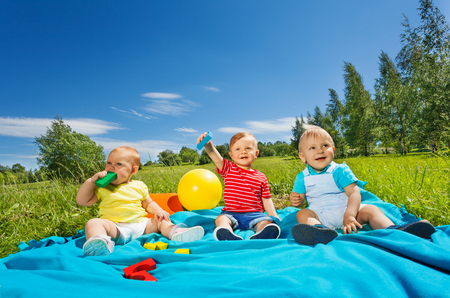 baby sitting: Wonderful cute toddlers sitting on blanket in the field during sunny summer day