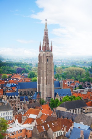 our lady: Church of Our Lady Bruges view from top during summer in Belgium Stock Photo