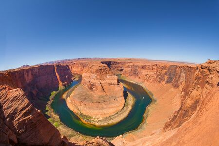 horse shoe: Fisheye view of Horse shoe canyon Colorado river, Canyonlands National Park, USA during sunny summer day