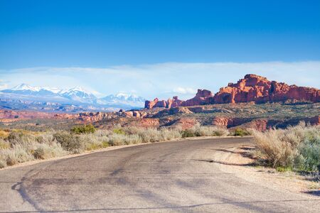 united states: Arches park plateau and Mt Waas near Arches National Park in USA during summer sunny day