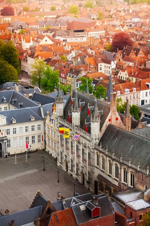 burg: Top view of fortified citadel Stadhuis with Burg square, Bruges, Belgium during day time Stock Photo