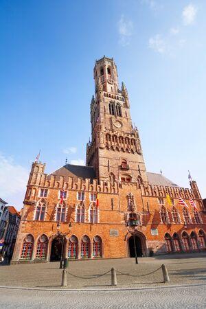 belfry: Belfry of Bruges and Grote Markt in summer, Bruges, Belgium