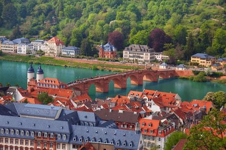 alte: Beautiful panorama view of Alte Brucke bridge and panorama of the city Heidelberg, Germany