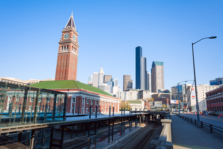 king street: Seattle King Street Station with clock tower during summer in Seattle, Washington USA Stock Photo
