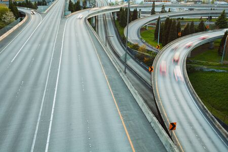 during the day: View of highway in Seattle during day time, Washington USA Stock Photo