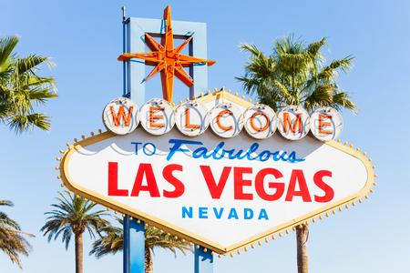 Welkom teken close-up weer naar Las Vegas in de zomer zonnige dag in Las Vegas, Nevada, Verenigde Staten Stockfoto