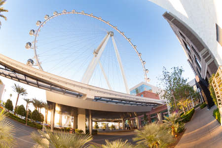 observation wheel: Las Vegas, United States - March 27, 2015: High Roller observation wheel in the morning sunrise light Editorial