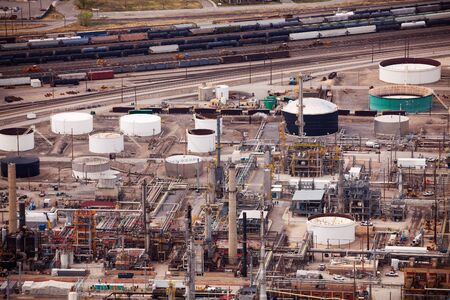 production process: Top view of Salt Lake city oil refineries during day time, USA
