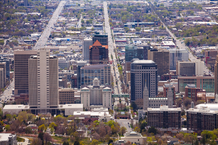 salt lake city: View from top of Utah Capitol building during day time in Salt Lake City, USA Stock Photo