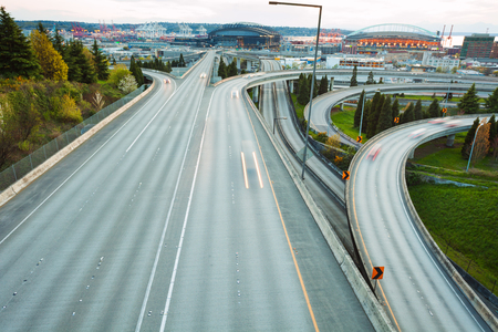 america countryside: Highway i-90 in Seattle during day time in Washington, USA