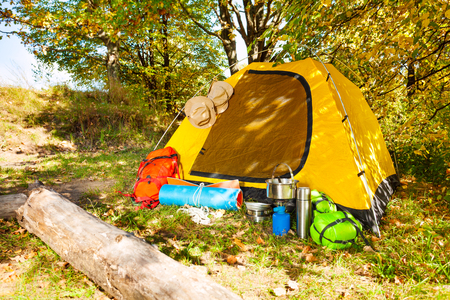 Beautiful campsite with tent, backpacks and other equipment during beautiful sunny day in the forest