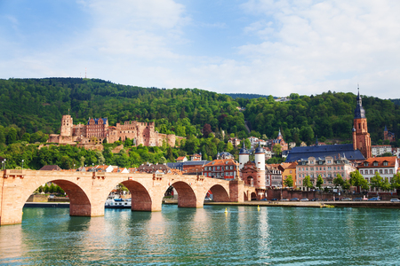 alte: Beautiful view of Alte Brucke bridge, castle and Neckar river in Heidelberg during summer sunny day, Germany