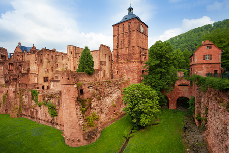 schloss: Heidelberg castle fragment  view during daytime and summer in Heidelberg, Germany