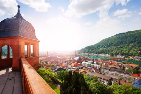 castle: Schloss Heidelberg and panorama of the city from the castle during sunny summer day, Heidelberg, Germany Stock Photo