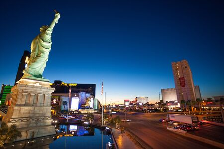sin city: Las Vegas, United States - March 27, 2015:  Las Vegas boulevard from New York Hotel and liberty statue early in the morning