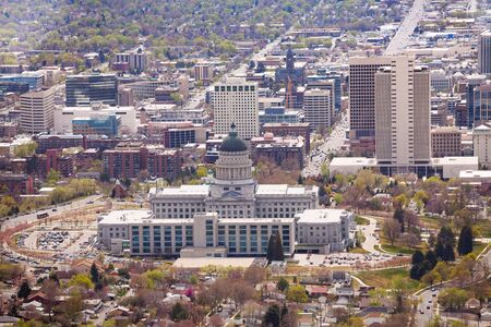 salt lake city: View of Utah Capitol building in Salt Lake City from top, USA Stock Photo