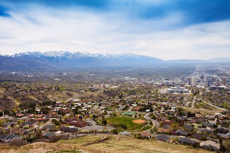 View from top of Salt Lake City with mountain chain, USA