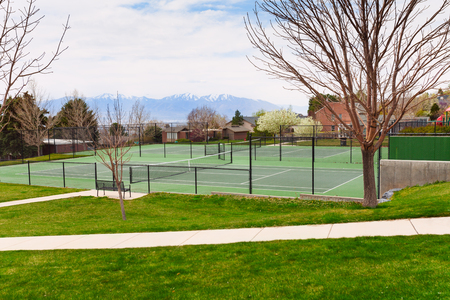 salt lake city: Tennis court in Salt Lake City with mountain view, USA