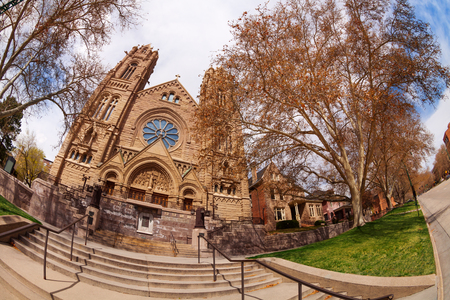 salt lake city: Fish-eye view of South Temple, Salt Lake City, USA