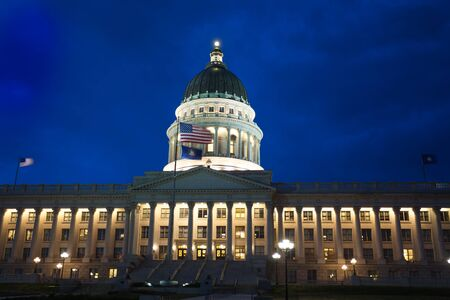 capitol building: Beautiful Utah Capitol building during night time in Salt Lake City, USA Stock Photo