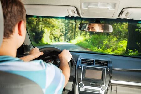 sitting people: Driving man inside the car with beautiful forest view of Redwood during summer in  California, USA