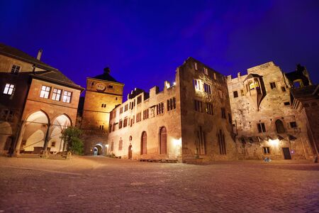 Inner square view of Schloss Heidelberg during night time in Heidelberg, Germany