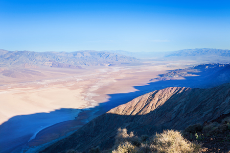 ridge of wave: View from above of the mounain over Death Valley panorama, California, USA