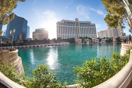 bellagio las vegas: Las Vegas, United States - March 27, 2015:  Fisheye photo of Bellagio Hotel during the day