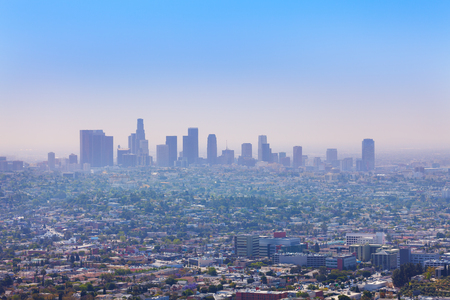 griffith: Beautiful cityscape view of Los Angeles from Griffith Observatory, USA during day time