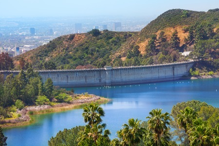reservoir: View of Mulholland Dam Hollywood Reservoir in Los Angeles during day time, USA