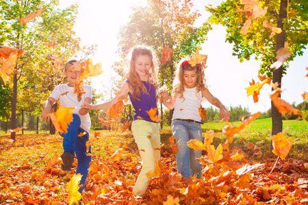 niños jugando: Amigos felices juegan con hojas de colores en el bosque juntos durante otoño hermoso día soleado Foto de archivo