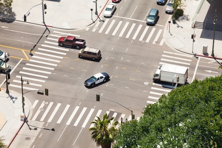 View from top of Spring Street and traffic in Los Angeles city during summer sunny day, USA Stock Photo