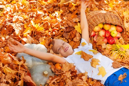 boy kid: Smiling boy laying on the leaves with harvest in basket during beautiful autumn sunny day