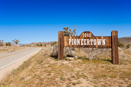 Pioneer town sign on the road, California, US Stock Photo