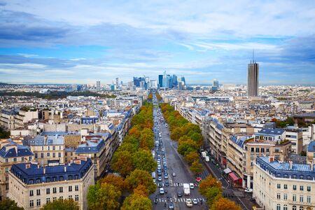 gaulle: Avenue de la Grande from Arc de Triumph to La Defence view from above