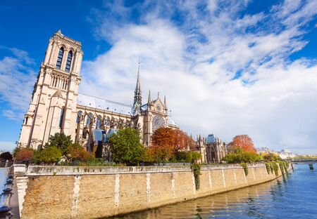 crown spire: View of Cathedral Notre Dame de Paris - a most famous cathedral on the eastern half of the Cite Island Stock Photo