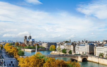 The wonderful view of Notre Dame cathedral on the Cite Island and part of Saint Louis Island on the right situated on the Seine river