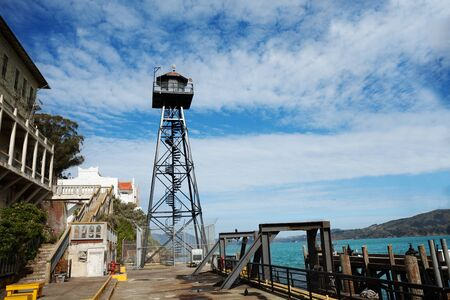 alcatraz: Watch tower in Alcatraz prison and embankment California USA Stock Photo