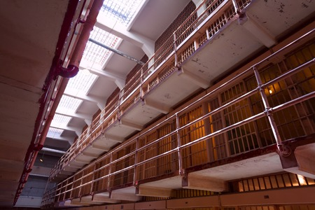 Several stories  of prison cells rows in American prison