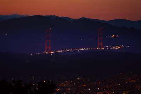 night dusk: View of the Golden Gate bridge in the night with view of the dusk evening sky