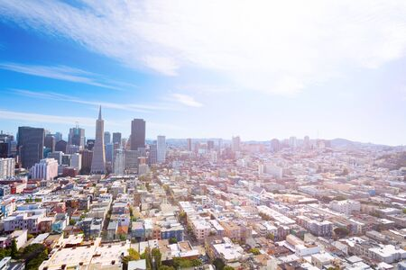 telegraph hill: General view of Larger San Francisco downtown city and residential area