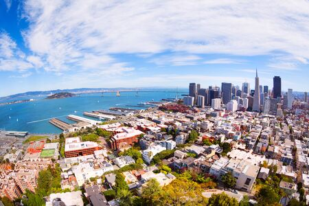 telegraph hill: View of the piers, downtown and San Francisco bay from the tower on sunny day