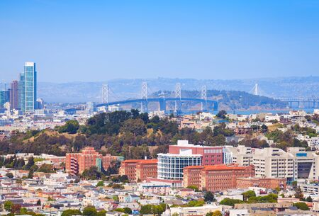 on the hill: San Francisco Oakland Bay Bridge over the city view Stock Photo