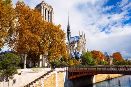 crown spire: The bridge and the stairs leading to Notre Dame de Paris