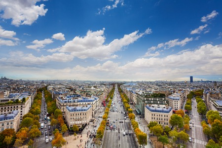 champs elysees quarter: View of Champs Elysees form Arc de Triumph and panorama of Paris boulevards Stock Photo