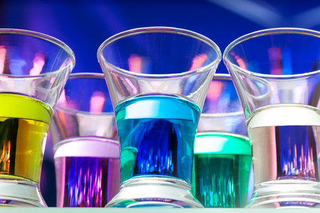 alcohol drinks: Close-up of from low angle of color shots alcohol drinks in the bar Stock Photo