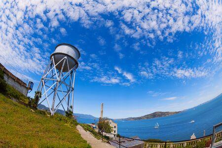 infamous: Water tower in Alcatraz prison island in California USA
