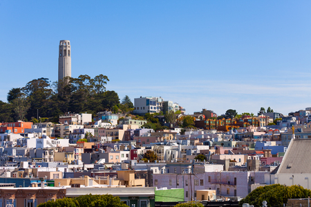 coit tower: Panorama and Coit Tower and view of San Francisco on sunny day, California USA